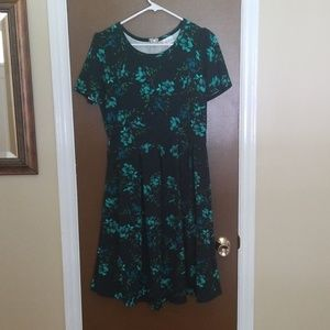 Lularoe Green Floral Dress with Pockets!